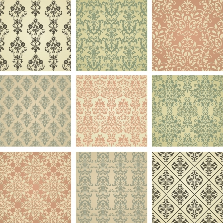 wrapping paper: Set of nine seamless pattern in retro style  eps10  Illustration