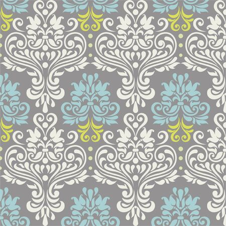 blue damask: Vector seamless floral colorful damask pattern