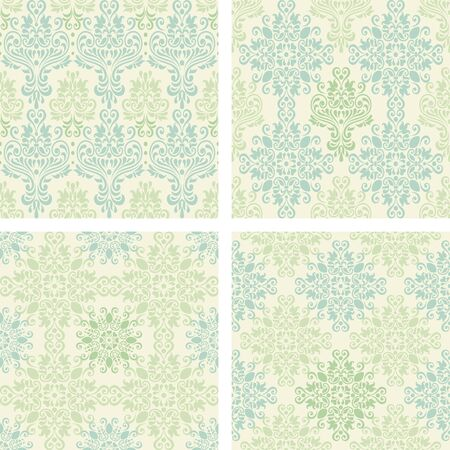 antique wallpaper: set of seamless colorful damask patterns in blue and green color  Illustration