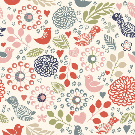 tropical bird: Seamless floral pattern with birds