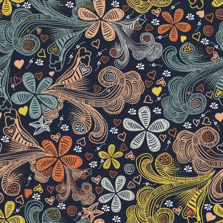 primeval: abstract seamless floral pattern  Illustration