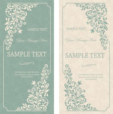 ビンテージ背景、アンティークのグリーティング カード、ビクトリア朝の装飾とビンテージ フレーム、美しい招待、贅沢なはがき  イラスト・ベクター素材
