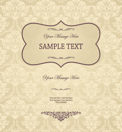 damask background: Vintage background, antique greeting card, invitation with victorian ornaments and vintage frame, beautiful, luxury postcard