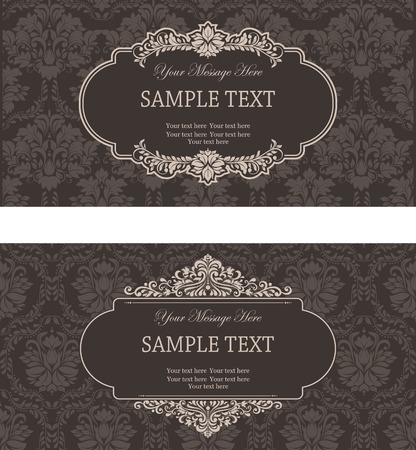 set of antique greeting cards, invitation with victorian ornaments Vector