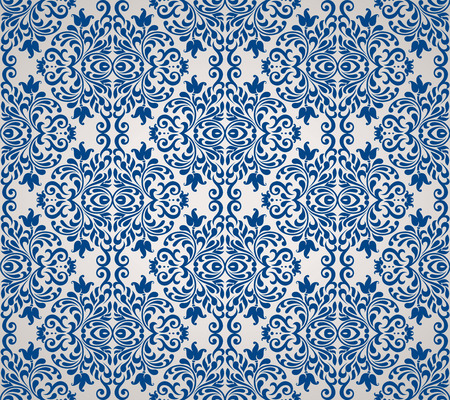 Seamless background of blue color in the style of baroque Vector