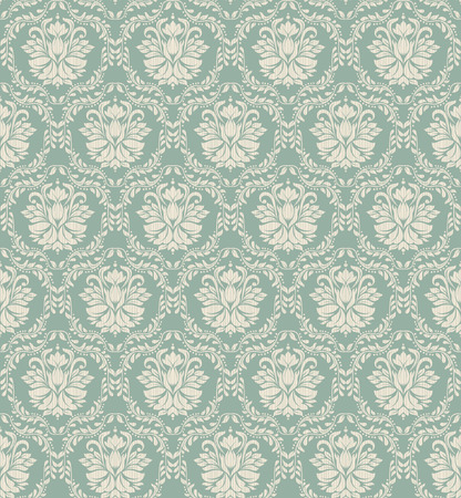 Seamless background of green color in the style of baroque Vector