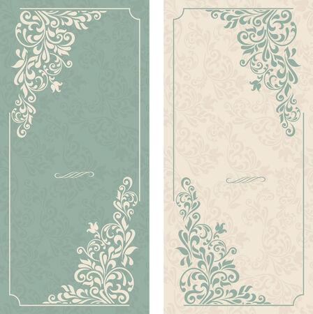 cartoline vittoriane: set di cartoline d'auguri antiche, invito con ornamenti vittoriano, bello, cartoline di lusso Vettoriali