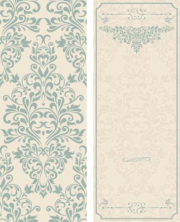 ensemble de cartes de voeux anciennes, invitation avec des ornements victorian, beau, cartes postales de luxe