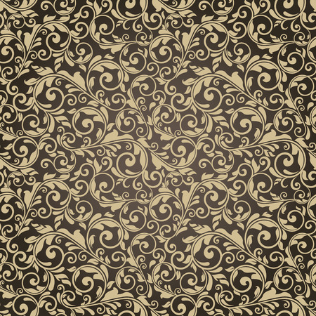 seamless victorian pattern on brown background Stock Vector - 33968499
