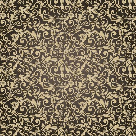 seamless victorian pattern on brown background Illustration