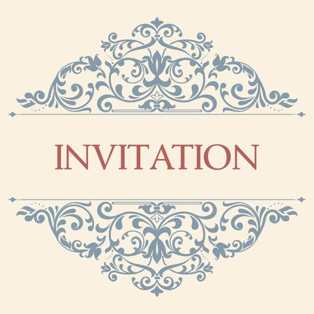 vintage wenskaart, uitnodiging met florale ornamenten, mooie, luxe ansichtkaarten Stock Illustratie