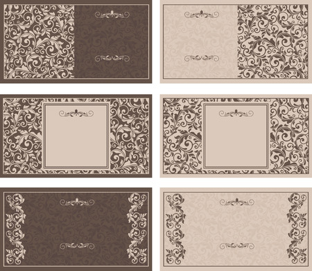 Set of six business cards with victorian pattern Vector