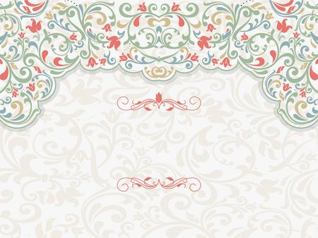 verschnörkelt: Vintage template with pattern and ornate borders. Ornamental lace pattern for invitation, greeting card, certificate.