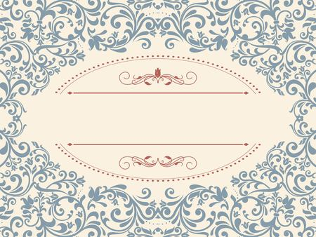 ornamental pattern: Vintage template with pattern and ornate borders. Ornamental lace pattern for invitation, greeting card, certificate.