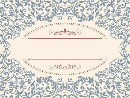 verschnörkelt: Vintage Vorlage mit Muster und verzierten Grenzen. Zierlochmuster für die Einladung, Grußkarte, Zertifikat.