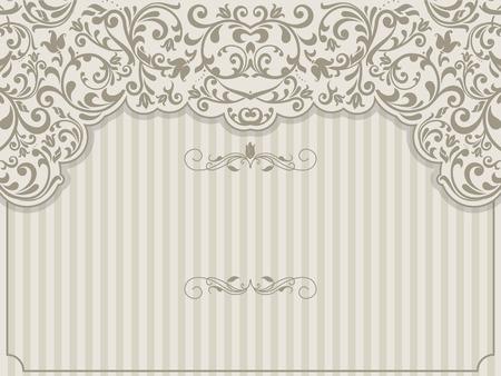Plantilla de la vendimia con el patrón y las fronteras adornadas. motivo ornamental de encaje para la invitación, tarjetas de felicitación, certificado.