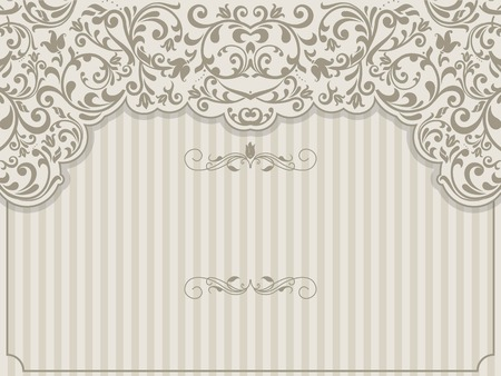 scroll design: Vintage template with pattern and ornate borders. Ornamental lace pattern for invitation, greeting card, certificate.