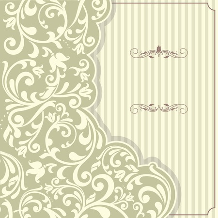 background cover: Vintage template with pattern and ornate borders. Ornamental lace pattern for invitation, greeting card, certificate.