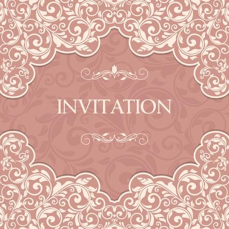 Vintage Vorlage mit Muster und verzierten Grenzen. Zierlochmuster für die Einladung, Grußkarte, Zertifikat.