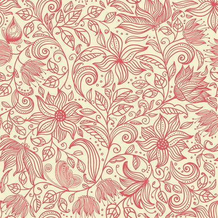 Seamless wallpaper with floral ornament with leafs and flowers for vintage design, spring or summer retro background. Illustration