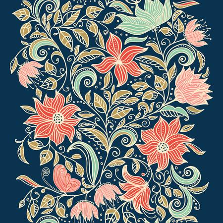 Aufwändige nahtlose mit Blumenbeschaffenheit, endloses Muster mit Blumen. Nahtloses Muster kann für Tapete, Musterfüllen, Webseitenhintergrund, Oberflächenbeschaffenheiten benutzt werden