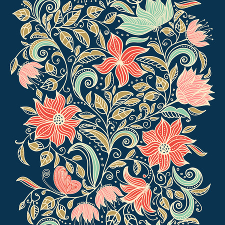 Ornate floral seamless texture, endless pattern with flowers. Seamless pattern can be used for wallpaper, pattern fills, web page background, surface textures