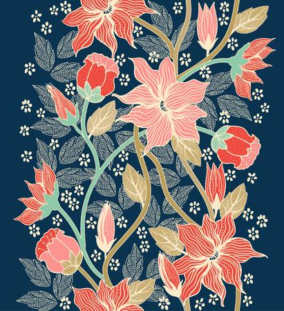 Orner texture transparente florale, motif sans fin avec des fleurs. Modèle sans couture peut être utilisé pour le papier peint, motifs de remplissage, fond de page web, textures de surface Vecteurs