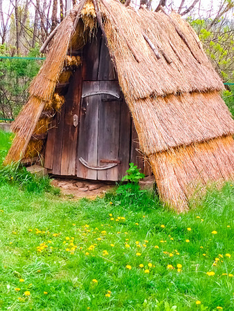 green tourism, authentic wooden structure with thatched roof, close-up, copy space Stock Photo