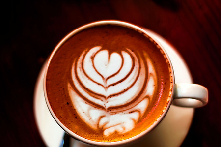 coffee with beautiful foam, a concept of breakfast, copy space, closeup