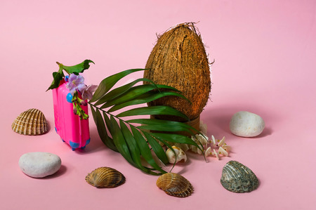 Creative mockup of fresh coconuts, pink suitcase and seashells, isolated on a white background. The concept of travel to tropical countries. Copy space, closeup