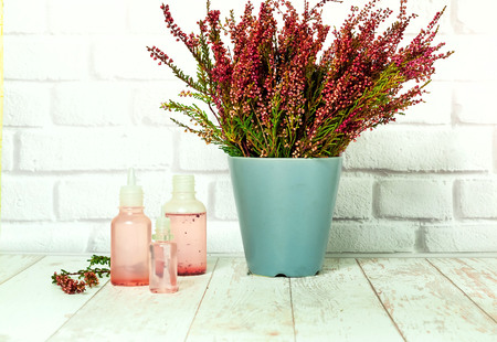 Bouquet of heather and tincture of heather flowers on light background, the concept of healing plants, close up,copy space