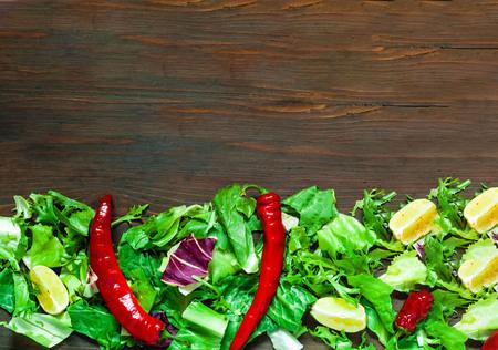 Organic Food Background of Lettuce. Italian Cooking, organic food concept.Copy space, closeup. Standard-Bild