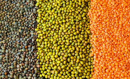 Food background from cereals and legumes. Healthy eating concept. Banco de Imagens