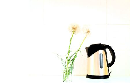 Metal teapot and dandelion inflorescences on a white background.Close-up,copy space