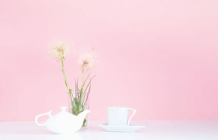 White porcelain teapot and cup on pink background with white dandelions. Concept for festive background or for project.Close-up,copy space Stock Photo