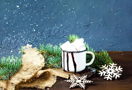 Christmas or New Year background.Hot chocolate with marsmallow candies. Close up, copy space