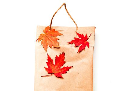 Paper bag for products with autumn leaves. Eco packaging concept. Close-up, copy space. Stok Fotoğraf