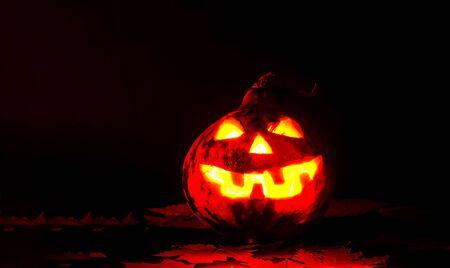 Halloween pumpkin on dark background. Close-up, copy space Banco de Imagens