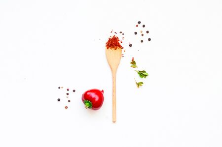 Ingredients and spices on a white isolated background. Mexican food concept. Close-up, copy space