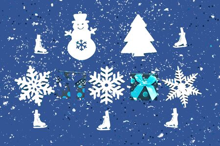 Decorative white christmas decorations on classic blue background. Pattern for holiday paper packaging. Close-up, copy space