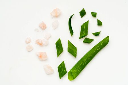 Aloe and sea salt on white isolated background. Body care concept. Close-up, copy space