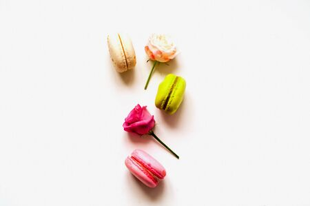 Festive composition. Multicolored macaroons and rose flowers on isolated white background. Close-up Stock Photo