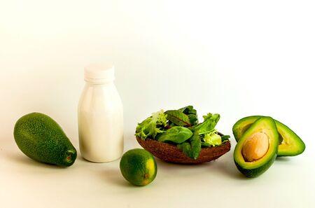Organic food against coronavirus on white background. Slow food concept. Close-up Reklamní fotografie