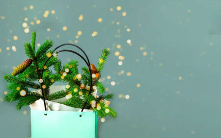 Fir branch with cones in green bag on gray background. Shopping concept for Christmas or New Year. Creative copy space. Close-up