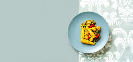 Diet salad of mushrooms and vegetables on gray background. Vegetarian food concept. Creative layout. . Фото со стока