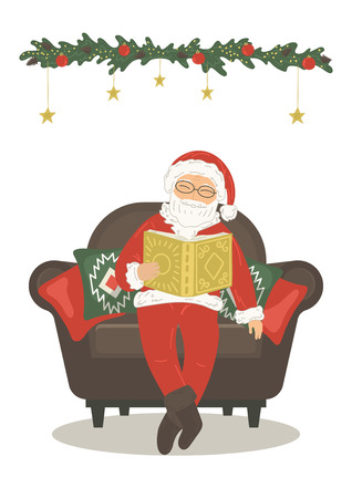 Santa Claus reading book in armchair on white background. Vector illustration.