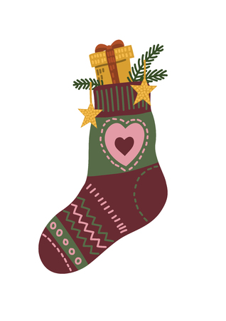 Warm winter sock with christmas gift. Cute hand drawn vector illustration.