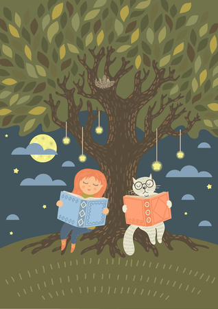 Bedtiime reading. Cute little girl with fantasy cat read books in the evening under the tree. Original vector illustration.