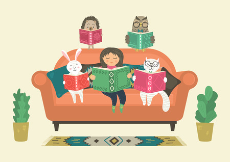 Girl reading book with fantasy clever animals on sofa. Fantasy world. Original vector illustration. Vector Illustration