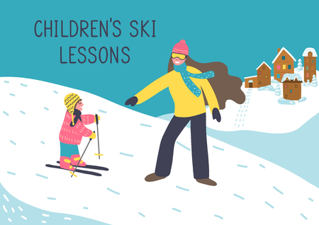 Children's ski lessons. Mother or woman instructor teaches child to ski. Vector illustration.